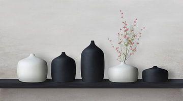 Keramikvasen schwarz/weiß von Color Square
