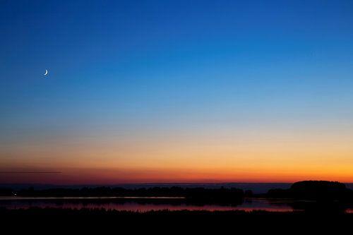Schemer in de Biesbosch met de maan van
