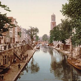 Oude gracht en Hamburgerbrug, Utrecht van Vintage Afbeeldingen