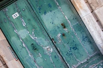 Porte à double porche en bois, vieillie par les intempéries sur Wil Wijnen