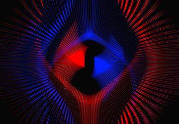 Rood en blauw stralende vormen op zwart van Leo Huijzer