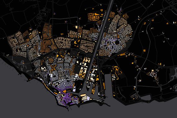 Kaart van Vlissingen abstract van Stef Verdonk