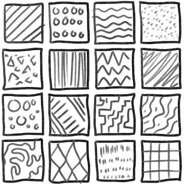 Abstract geomterie handgetekende vierkanten met arcering van Emiels de Lange