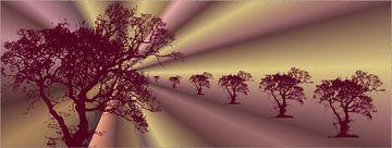 Abstracte boom oud roze van Ina Fischer
