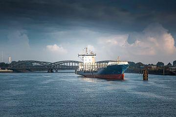Hamburg - Containerschiff vor den Elbbrücken von Sabine Wagner
