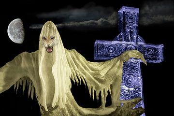 Geest met Keltisch Kruis en maan. van Gert Hilbink