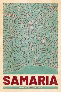 Samaria Gorge | Kaart Topografie (Retro)