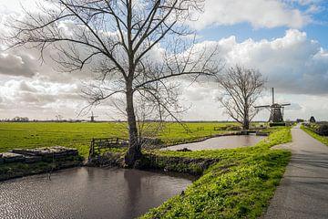 Molens in een Nederlands Polderlandschap bij Streefkerk van Ruud Morijn