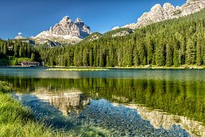 Lake Misurina with the reflection of the mountain in the water.