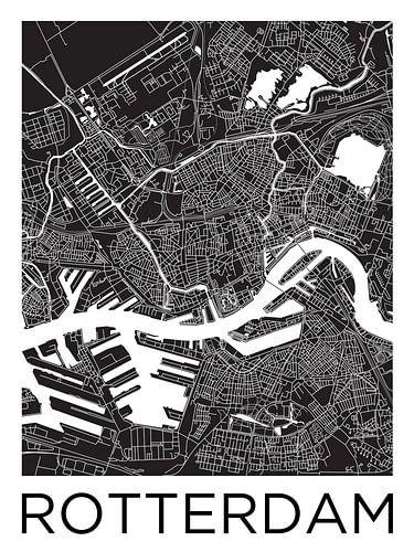 Rotterdam | Stadtplan schwarz weiß von