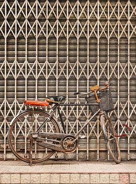 Rusty Vintage Fahrrad gegen Metallzaun von Tony Vingerhoets