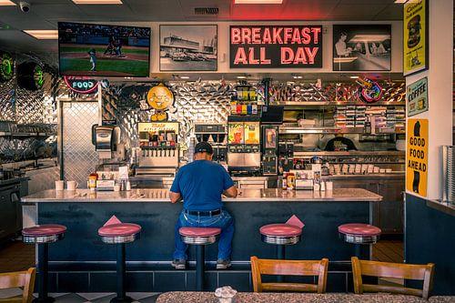 Retro stijl restaurant, Amerika van Inge van den Brande