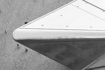 Eine Vogelperspektive über den Hauptbahnhof von Rotterdam von MS Fotografie | Marc van der Stelt