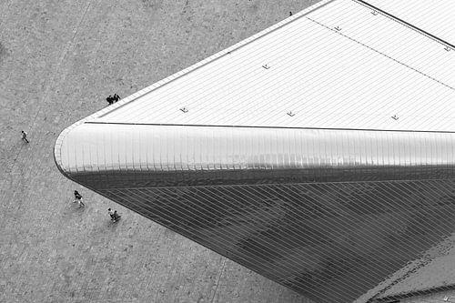Een vogelvlucht over het Centraal Station van Rotterdam van MS Fotografie
