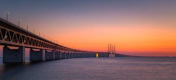 Panorama van een zonsondergang bij de Oresund brug