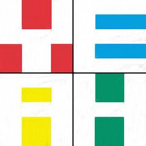 Geometrische vormen in rood blauw geel groen