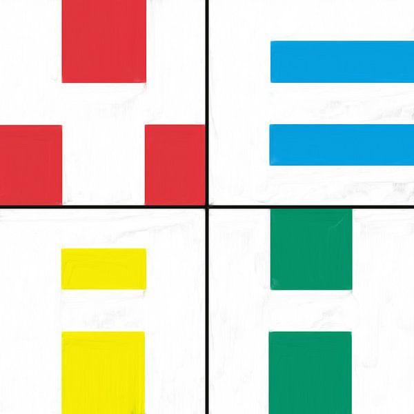Geometrische vormen in rood blauw geel groen van Maurice Dawson