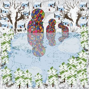 kunstwerken op een koude winterdag