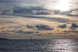 De Noordzee bij zonsondergang