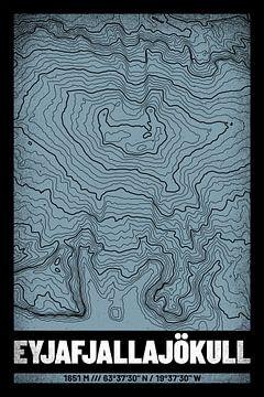 Eyjafjallajökull | Kaart Topografie (Grunge) van ViaMapia