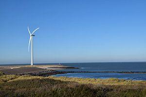 Niederländische Küstenlandschaft von der Insel Neeltje-Jan aus gesehen, Teil der Deltawerke in der P