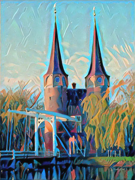 Modern Schilderij Oostpoort Delft van Slimme Kunst.nl