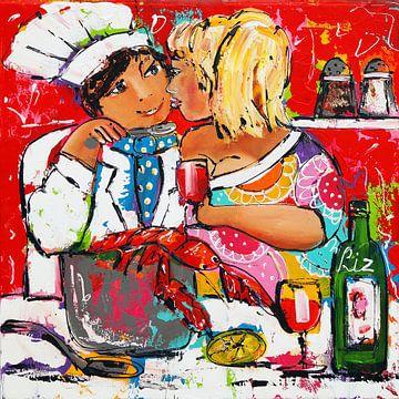 Gemeinsames Kochen von Vrolijk Schilderij