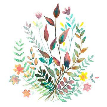 Bouquet de champs en aquarelle | Peinture sur WatercolorWall