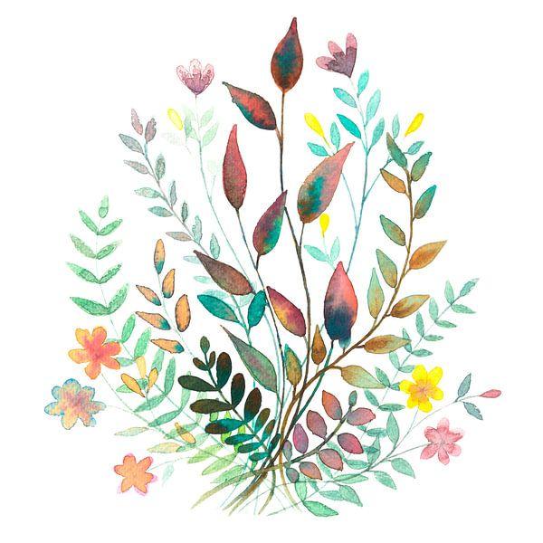 Veldboeket in Aquarel | Schilderij van WatercolorWall
