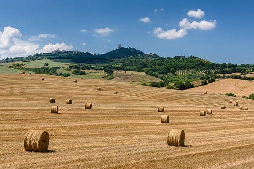 Toscaanse hooibalen op uitgestrekt veld