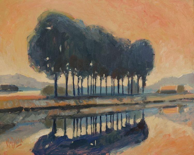 Bäume entlang eines Kanals von Nop Briex