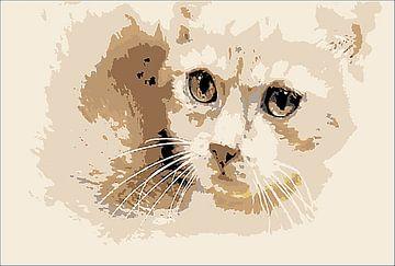 Katzenkopf digital van Margitta Frischat