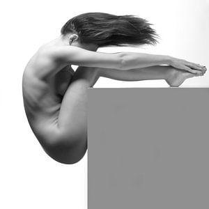 Artistiek naakt op een kubus