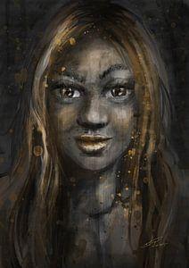 Portret van een donkere vrouw met gouden accenten. Gezicht van een prachtige Afrikaans vrouwelijk mo van Emiel de Lange
