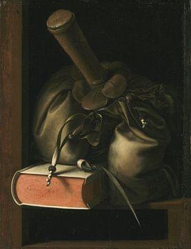 Stilleben mit Buch und Portemonnaie, Gerrit Dou