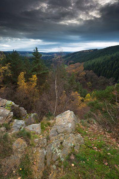 Rotsformatie in de Belgische Ardennen in de herfst.  van Rob Christiaans