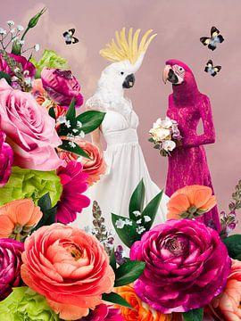 Een prachtig stel, hardroze collage van Lida Bruinen