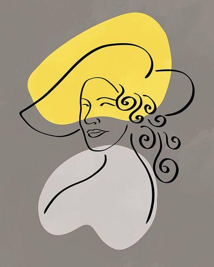 Lijntekening van een vrouw met hoed met twee organische vormen in geel en grijs