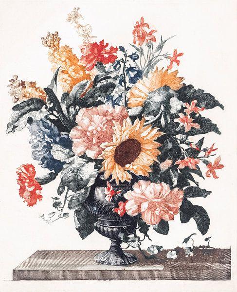 Stenen vaas met zonnebloemen en anjers, Johan Teyler van Meesterlijcke Meesters
