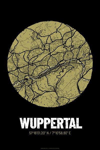 Wuppertal – City Map Design Stadtplan Karte (Grunge) von ViaMapia