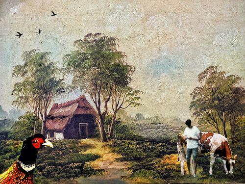 Schilderij 2.0 van boerderijtje, boer en koe