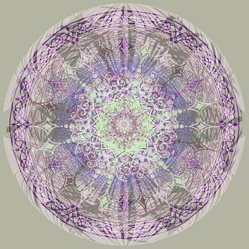 Kaleidoscoop paars,grijs,groen van