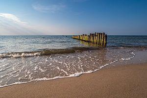 Buhnen an der Küste der Ostsee bei Graal Müritz.