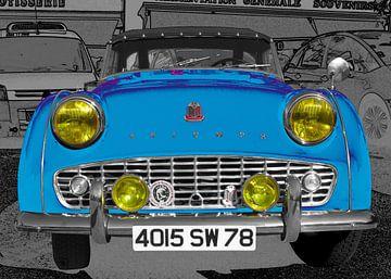 Triumph TR3 in blauw van aRi F. Huber