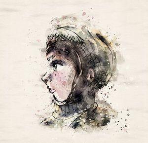 Porträt Mädchen mit Hut - Seitenansicht