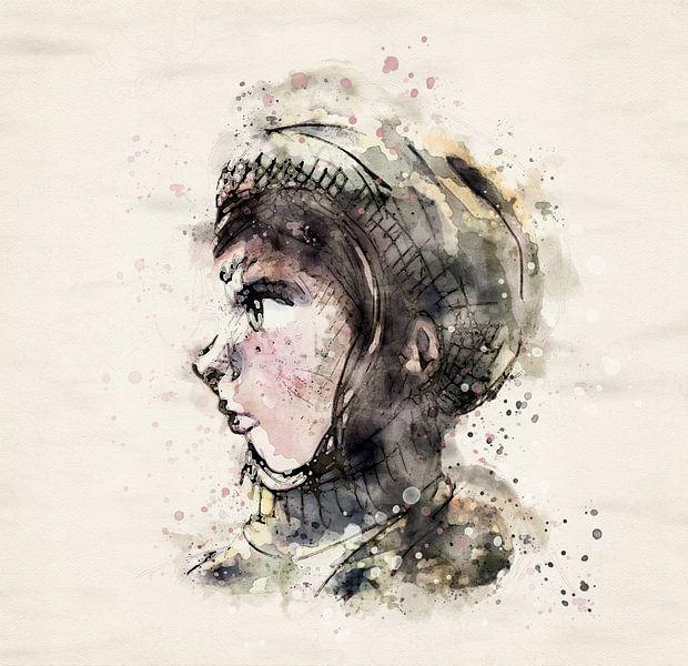 Porträt Mädchen mit Hut - Seitenansicht von Emiel de Lange