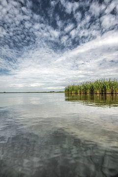 Verstild IJsselmeer in der Nähe der friesischen Stadt Molkwerum mit verspiegeltem Wok-Deck von Harrie Muis