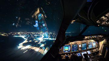 Bienvenue à 11 km d'altitude lors d'un vol de retour de nuit. sur