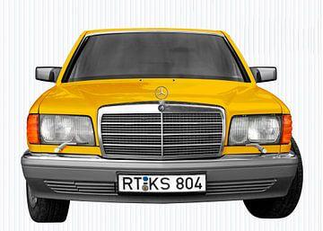 Mercedes-Benz S-Klasse W 126 front view in yellow von aRi F. Huber