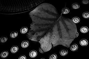 typemachine met herfstblad van Miranda Auwens